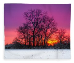Snowy Sunset Fleece Blanket