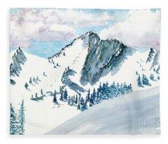 Snowy Wasatch Peak Fleece Blanket