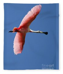 Soaring High Roseate Spoonbill Fleece Blanket