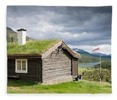 Sod Roof Log Cabin Fleece Blanket