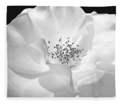 Soft Petal Rose In Black And White Fleece Blanket