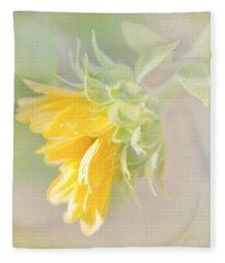 Soft Yellow Sunflower Just Starting To Bloom Fleece Blanket