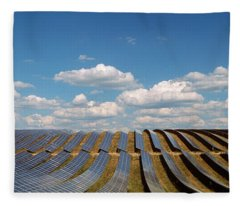 Solar Panels In A Field Fleece Blanket