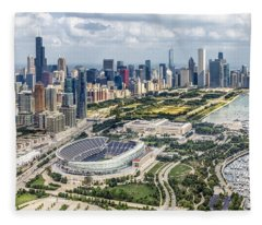 Soldier Field And Chicago Skyline Fleece Blanket