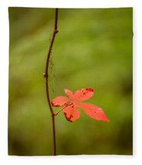 Solitary Red Leaf Fleece Blanket