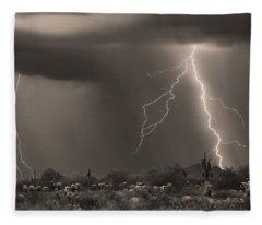 Sonoran Desert Storm - Sepia Fleece Blanket
