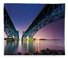 South Grand Island Bridge Fleece Blanket
