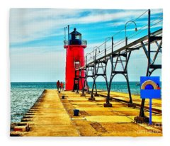 South Haven Lighthouse Fleece Blanket
