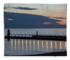 South Haven Michigan Lighthouse Fleece Blanket