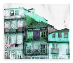 South Side Of Town-featured In Old Buildings And Ruins Group Fleece Blanket