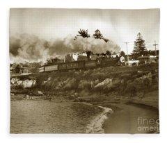Southern Pacific Del Monte Passenger Train Pacific Grove Circa 1954 Fleece Blanket