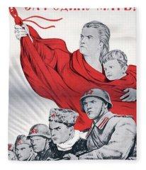 Soviet Russian Poster For The Motherland 1943 Fleece Blanket