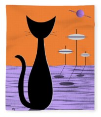 Space Cat Orange Sky Fleece Blanket
