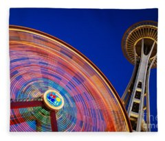 Space Needle And Wheel Fleece Blanket