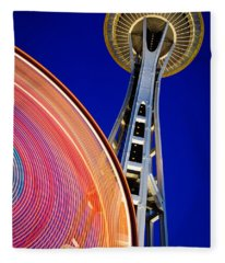 Space Needle Color Wheel Fleece Blanket