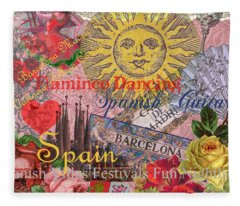 Spain Vintage Trendy Spain Travel Collage  Fleece Blanket