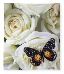 Speckled Butterfly On White Rose Fleece Blanket