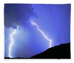 Spectacular Double Lightning Strike Fleece Blanket