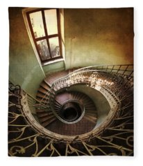 Spiral Staircaise With A Window Fleece Blanket
