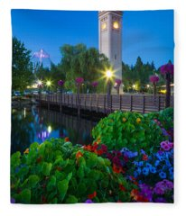 Spokane Clocktower By Night Fleece Blanket