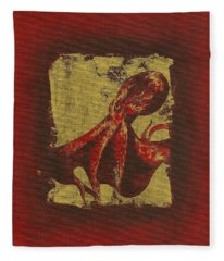 Spotted Red Octopus Fleece Blanket