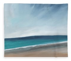 Spring Beach- Contemporary Abstract Landscape Fleece Blanket