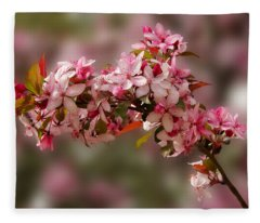 Cheery Cherry Blossoms Fleece Blanket