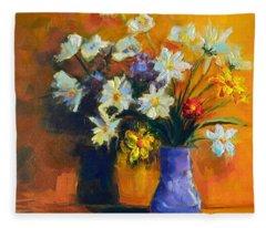 Spring Flowers In A Vase Fleece Blanket
