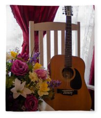 Spring Guitar Fleece Blanket