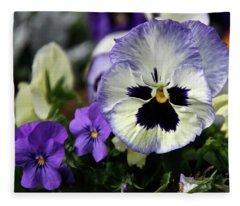 Spring Pansy Flower Fleece Blanket