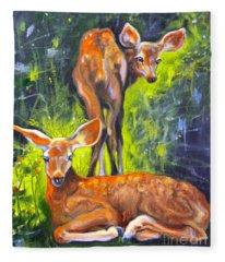Spring Twins 1 Fleece Blanket