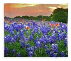 Springtime Sunset In Texas - Texas Bluebonnet Wildflowers Landscape Flowers Paintbrush Fleece Blanket