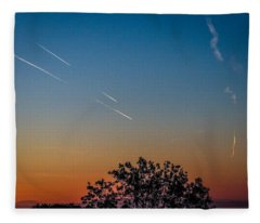 Squadron Of Jet Trails Over Ireland Fleece Blanket