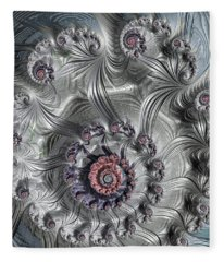 Fleece Blanket featuring the digital art Square Format Abstract Fractal Spiral Art by Matthias Hauser