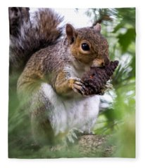 Squirrel With Pine Cone Fleece Blanket