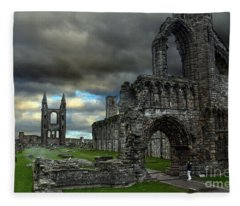 St Andrews Cathedral And Gravestones Fleece Blanket