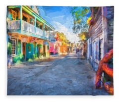 St George Street St Augustine Florida Painted Fleece Blanket