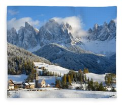 St. Magdalena Village In The Snow In Winter Fleece Blanket