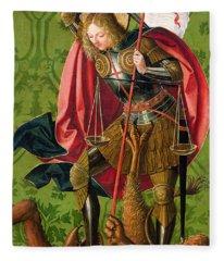 St. Michael Killing The Dragon  Fleece Blanket