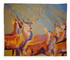 Stag And Deer Painting Fleece Blanket