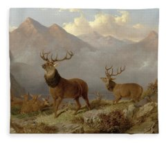 Stags And Hinds In A Highland Landscape Fleece Blanket