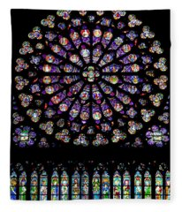 Stained Glass At Notre Dame Fleece Blanket
