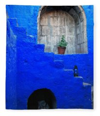 Staircase In Blue Courtyard Fleece Blanket