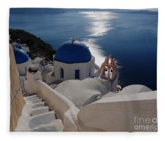 Stairway To The Blue Domed Church Fleece Blanket