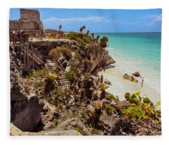 Stairway To The Tulum Beach  Fleece Blanket