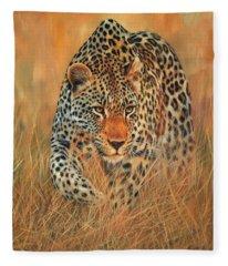 Stalking Leopard Fleece Blanket