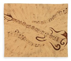 Stand By Me Guitar Notes Original Coffee Painting Fleece Blanket