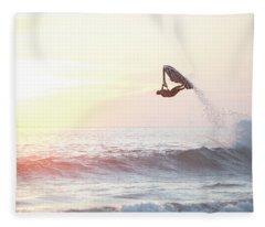 Stand Up Jet Ski Barrel Roll At Sunset Fleece Blanket