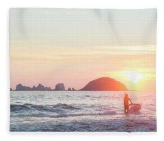 Stand Up Jet Ski Rider At Sunset Fleece Blanket
