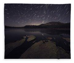 Star Trails Over Silver Lake Resort Fleece Blanket